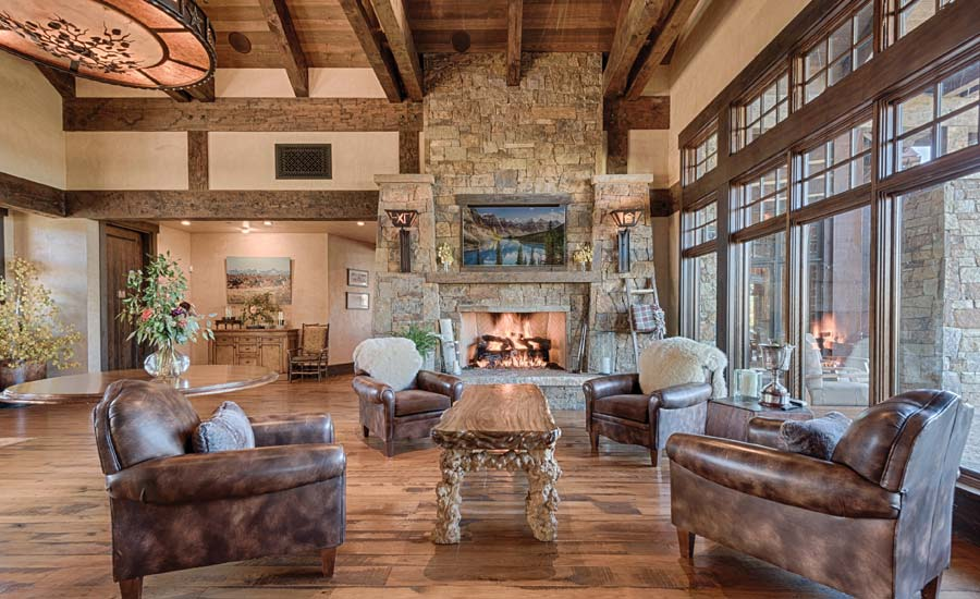 WESTERN STYLE: Large windows and appointments of varying tones give the clubhouse a welcoming airiness and solidity.