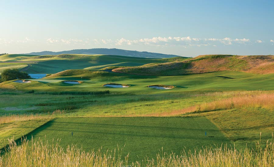 A REACHABLE RISK: With bunkers angling towards the flag, Palouse Ridge's 307-yard par-4 15th tempts the gambling golfer to drive the green rather than place a tee shot in the ample fairway to the right.