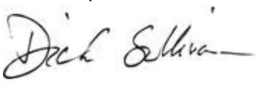 PGA TOUR Superstore President & CEO Dick Sullivan's signature