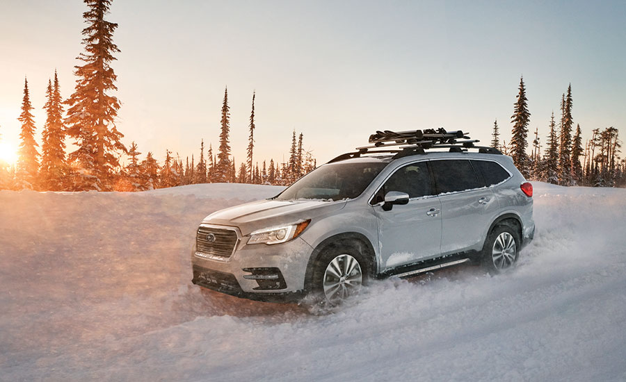 The 2020 Subaru Ascent Limited cruises through the snow