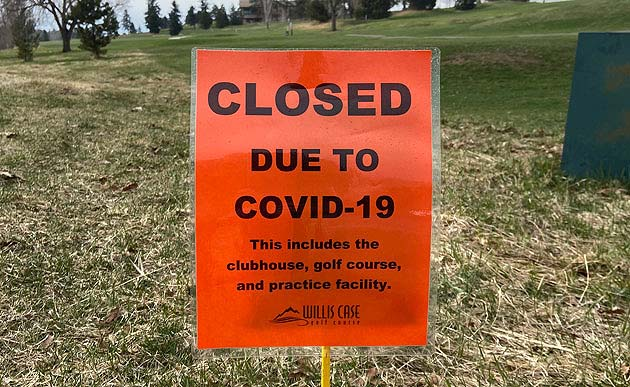 COVID closed Course sign