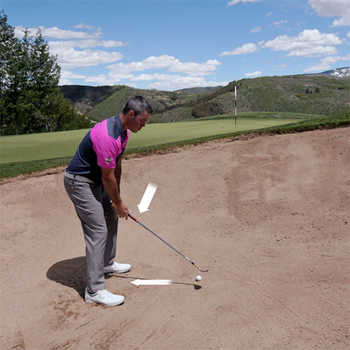 Getting out of a greenside bunker by opening the club face.