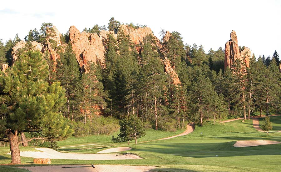 Natural rock formations surrounding the golf course at Perry Park Country Club