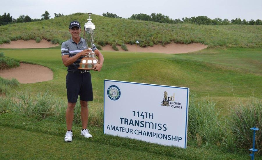 Future PGA TOUR winner Cameron Champ shot a 9-under 201 at Prairie Dunes to win by four strokes a Trans-Miss shortened to 54 holes by thunderstorms.