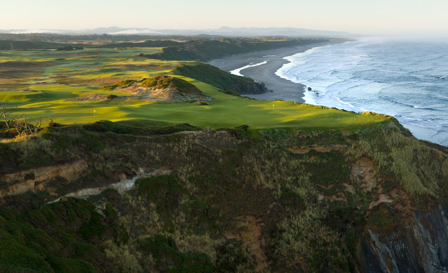 HARD BY THE SEA: Ocean seems to surround every hole at Sheep Ranch. Nos. 3 and 16 (above) share a tiered green
