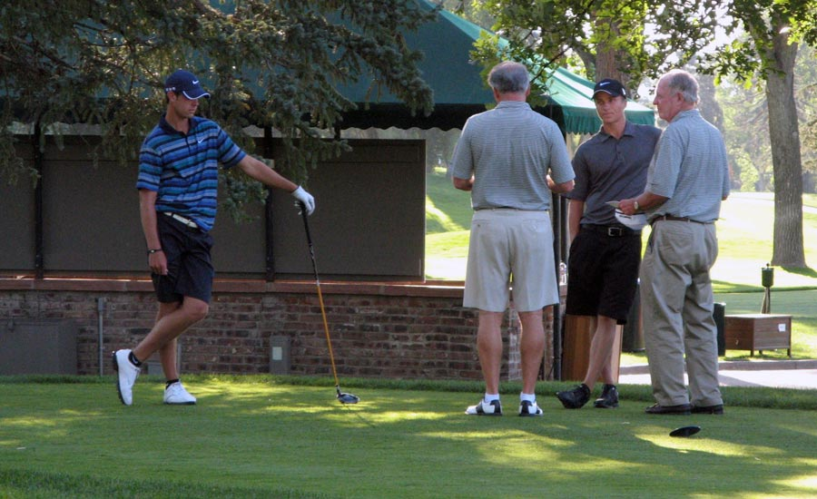 EXTRA HOLES: Heading to a playoff at Denver Country Club in 2010, Kevin Tway (left) and eventual winner Scott Pinckney got instructions from tournament co-chairs Gary Potter (right) and Kim Richey.