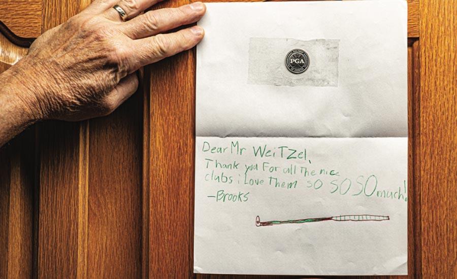 A kid's note to Dan Weitzel