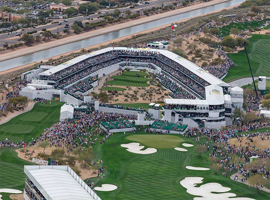 The 16th hole at the 2020 Waste Management Phoenix Open
